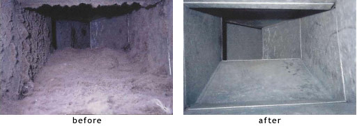 ductwork before and after cleaning
