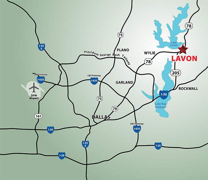 lavon texas location on map