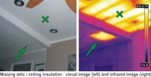 thermal image of missing attic insulation